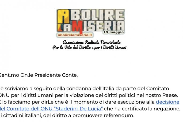 Lettera al Presidente del Consiglio Giuseppe Conte